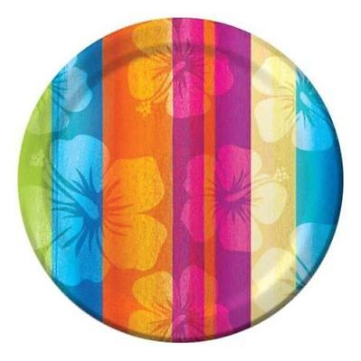 Tropical Hibiscus Striped Paper Plates 7