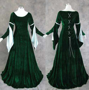 Medieval-Renaissance-Gown-Dress-Costume-LOTR-Wedding-S