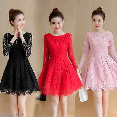 Korean Womens Long Sleeve Slim Evening Party Cocktail Lace A Line Swing Dress