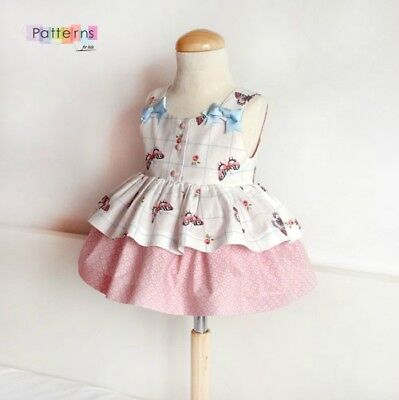 PAPER SEWING PATTERN Butterfly Summer DRESS Baby girls toddler spanish style DIY ()