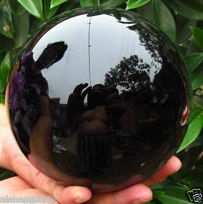 - 80MM+stand Natural Black Obsidian Sphere Large Crystal Ball Healing Stone