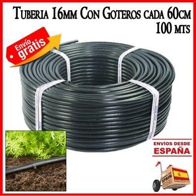 Tubo riego por goteo cada 60 cm Tuberia 16mm negro con goteros...