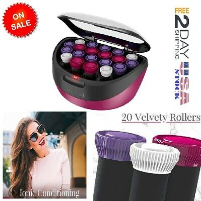 Hair Setter 20 Ceramic Rollers Set Ionic Instant Heat Curlers Hot Hairstyle -