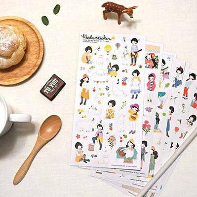 6X Pony Brown HEEDA Sticker Korea Sweet Girl & Cartoon Animals Scrapbooking Deco