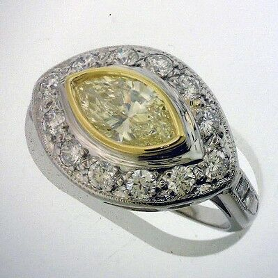 1.01 ct GIA Fancy Yellow Color VS1 Marquise Diamond Platinum Antique Ring 1.70 c 1