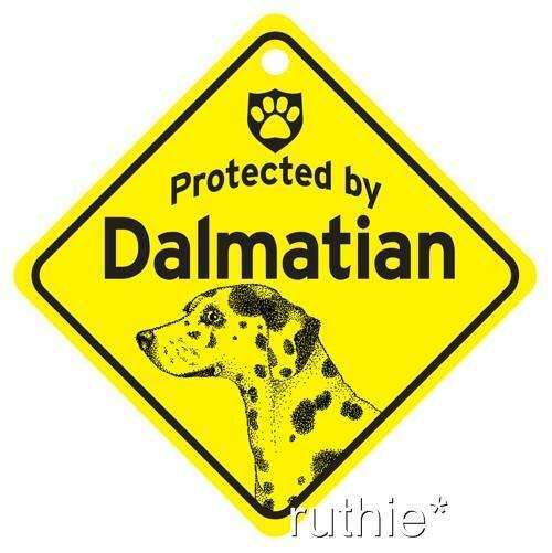 Protected by Dalmatian Dog Window Sign Made in USA