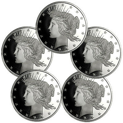 LOT OF 5 - PEACE SILVER DOLLAR DESIGN 1 OZ .999 SILVER ROUNDS SKU34189