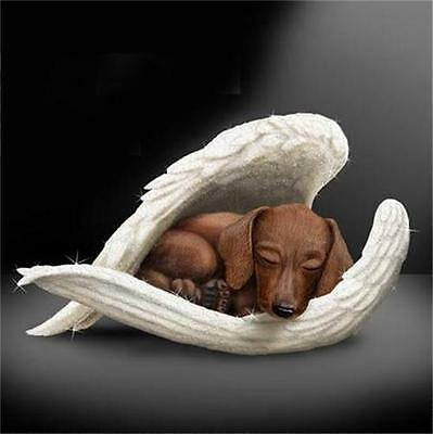 DACHSHUND Leave Paw Prints DOG in Angel Wings Figurine NEW