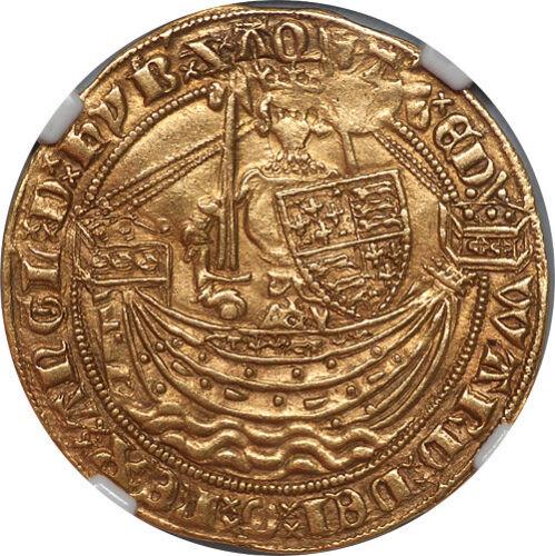 Great Britain Edward III (1361-69) Gold Half Noble NGC AU-55 RARE GRADE!!