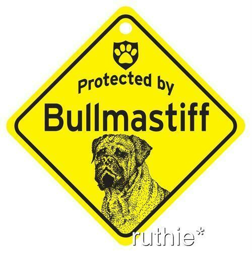 Protected by Bullmastiff Dog Window Sign Made in USA