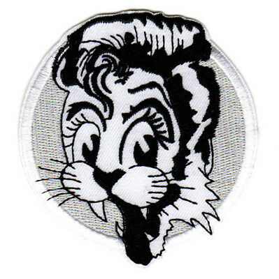 ROCKABILLY CAT EMBROIDERED IRON ON PATCH psychobilly retro greaser hot rodder - Greaser Guy