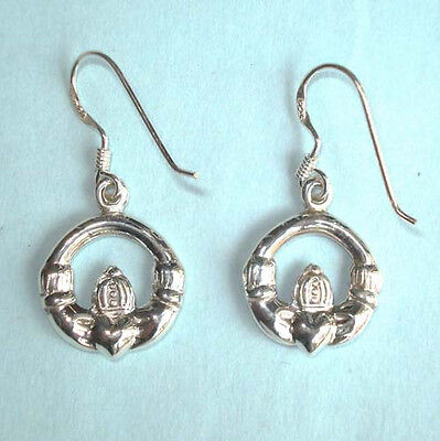 (Claddagh STERLING SILVER Dangle Celtic Earrings Wires Irish Tradition 1 1/4