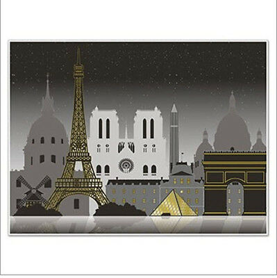 PARIS CITYSCAPE Scene Setter party wall backdrop Eiffel Tower mural 5' by - Paris Scene Setter