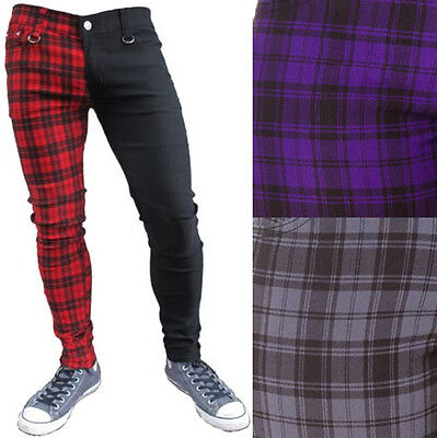 Mens Red Purple Grey Black Tartan Split Leg Slim Skinny Jeans Punk Rock Retro