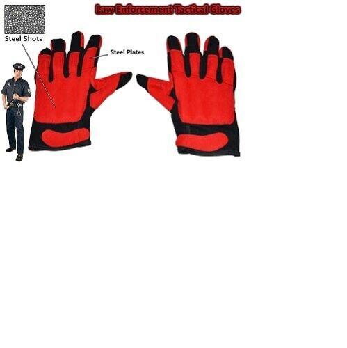 Large Red Black Leather Sap Gloves