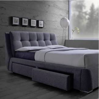 UPHOLSTERED BED light/dark grey PAYMENT PLANS; 6 m. interest free Southport Gold Coast City Preview