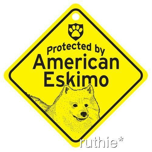 Protected by American Eskimo Window Sign Made in USA
