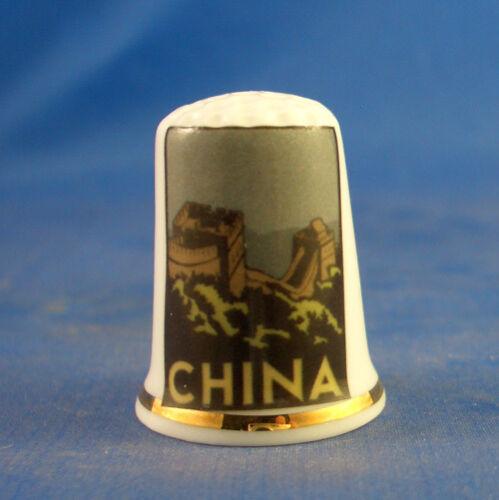 Birchcroft China Thimble -- Travel Poster Series - China - Free Dome Gift Box