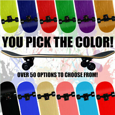 Blank Pro Maple Complete Skateboard ReadyToRide YOU PICK SIZE COLOR Skateboards ()