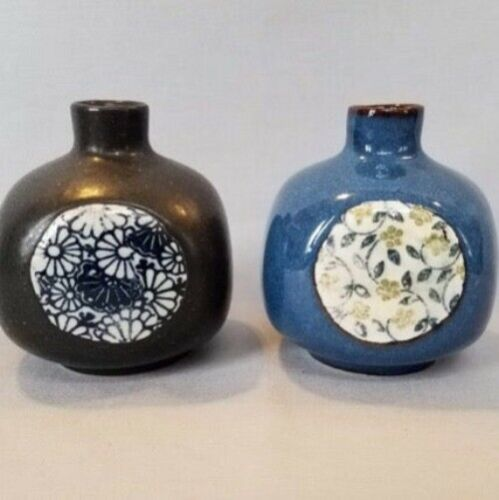 Japanese Pottery Bud Vase Set of Two