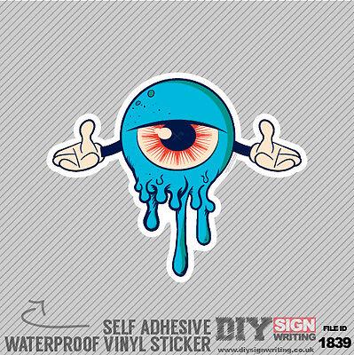 Blue Monster Dripping Self Adhesive Vinyl Sticker Decal Window