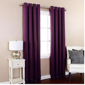 Two Heavy Thick Panels Foam Blackout Plum Purple Grommet Window Curtain Lined  eBay