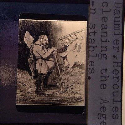 """Honore Daumier """"Hercules Cleaning"""" French Realism 35mm Glass Art Slide"""