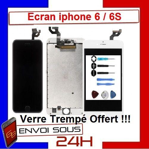 ecran lcd vitre tactile sur chassis pour iphone 6/6s noir blanc avec outils