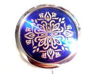 Blue & Silver Metallic Compact Make-up Mirror Case 70 mm Chrome