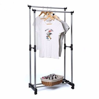 Double Heavy Duty Collapsible Adjustable Clothin Rolling Garment Rack Hanger
