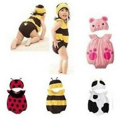 Baby Kids Toddlers Cute Cow Bee Ladybug Bear Party Costume Romper Prop set](Cute Cow Costume)