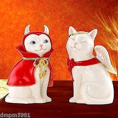 Lenox Halloween Cat Angel & Devil Salt and Pepper Shakers NEW IN - Angel And Devil Halloween