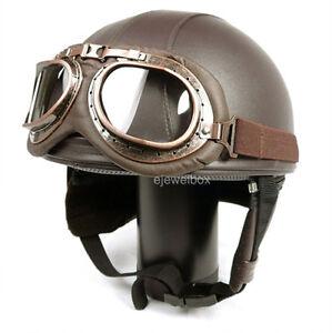 Vintage-Motorcycle-Motorbike-Scooter-Half-Leather-Helmet-Brown-Free-Goggles