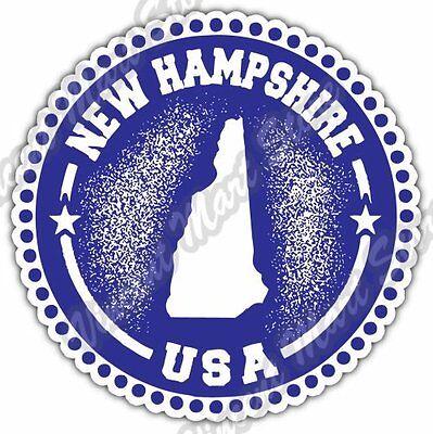 New Hampshire State Map (New Hampshire State Map USA Grunge Stamp Car Bumper Vinyl Sticker Decal 4.6
