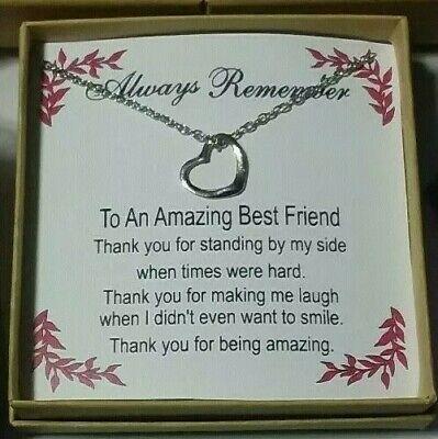 Best Friend Silver Heart Necklace/Pendant Gift Box Message Set Love