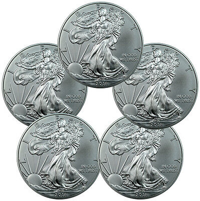 Lot of 5 - 2016 1 Troy Oz .999 Fine American Silver Eagle Coins SKU38284
