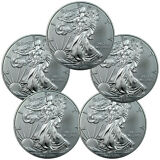 Lot of 5 - 2016 1 Troy Oz .999 Fine American Silver Eagle Coins SKU38284