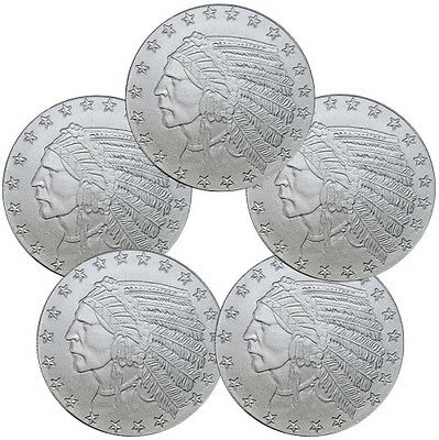 Lot of 5 - Incuse Indian Head 1 Troy Oz Silver Round - Highland Mint SKU35814