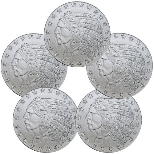 Lot of 5 - Incuse Indian Head 1 oz Silver Round SKU35814