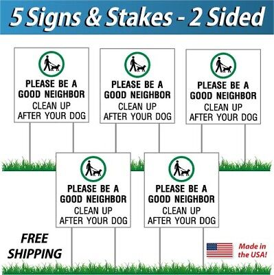5x - Clean Up After Your Dog Signs Corrugated Plastic Free Stakes 5 Pack
