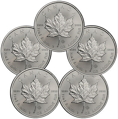 Lot of 5 2016 Canada .9999 Fine Silver Maple Leaf Coins SKU37995
