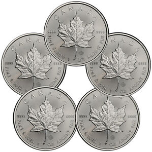 Lot of 5 2016 Canada 1 Oz .9999 Fine Silver Maple Leaf Coins SKU37995