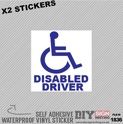 X2 Disabled Driver Badge Self Adhesive Vinyl Sticker Decal Window