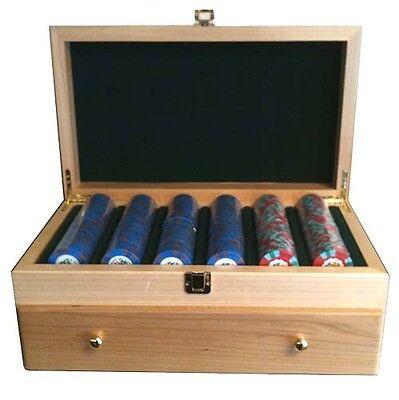 500 Wooden Maple Poker Chip CASE W/ Drawer Casino Las Vegas Holds 500 Chips NEW*