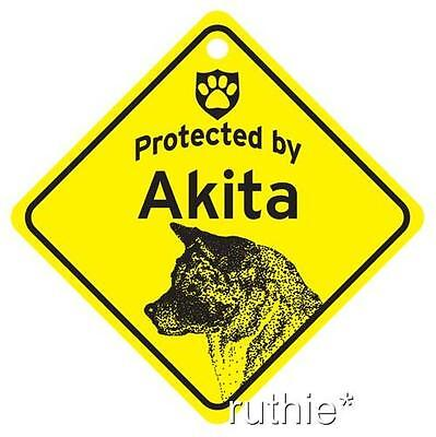 Protected by Akita Dog Window Sign Made ...