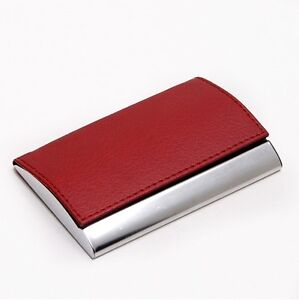 Red Leather Stainless Steel Skin Business Name Credit ID Card Case holder Wallet