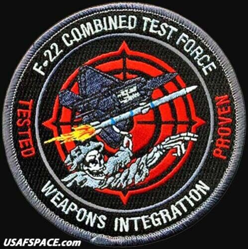 USAF 411th FLIGHT TEST SQ- F-22 COMBINED TEST FORCE -WEAPONS INTEGRATION PATCH