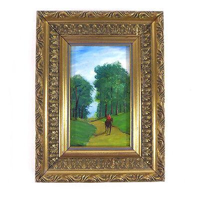 Framed Original Hand Painted Man Landscape Oil Painting by Leonard Black