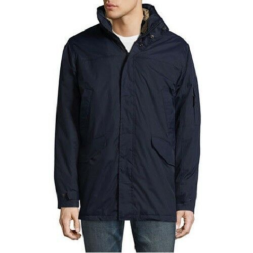 NEW $200 IZOD Men'S BLUE HOODED 3-IN-1 PARKA FULL ZIP RAIN C