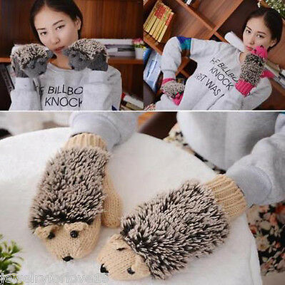 Damen Mädchen warme Karikatur Igel Handschuhe gestrickte Winter Handschuhe KUS